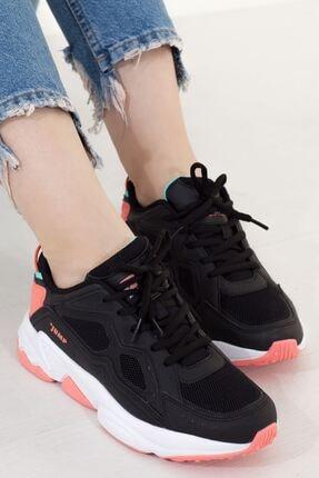 Jump Siyah Mint Pembe Yüksek Taban Bağcıklı Kadın Spor Ayakkabı • A202yjmp0001