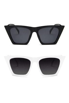 Hane14 Designer Cat Eye Köşeli Bayan Güneş Gözlüğü Siyah Beyaz 2'li