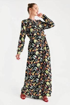 Bigdart 1987 Çiçek Desen Beli Kuşaklı Elbise
