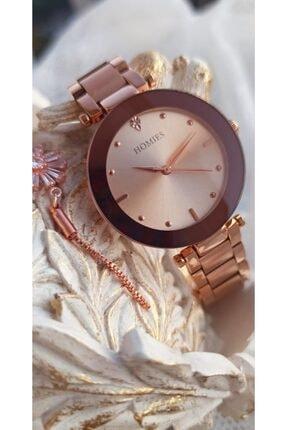 Homies Kadın Rose Gold Çelik Kordon Modern Kol Saati + Bileklik BNCHMY1006
