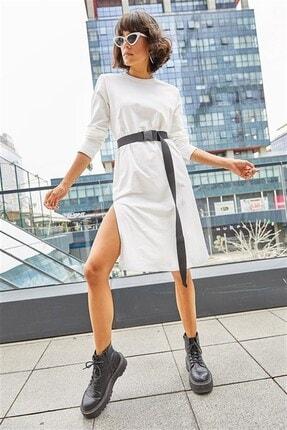Boutiquen 2246a-beyaz Yanı Yırtmaçlı Uzun Kollu Kemerli Midi Elbise-3c