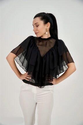 Lila Rose Kadın Siyah Şifon Volanlı Bluz