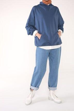 ALLDAY Koyu Mavi Kapüşonlu Cepli Rahat Kalıp Sweatshirt