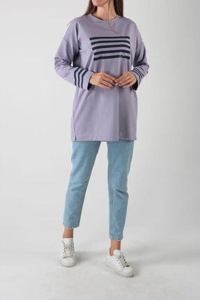ALLDAY Lila Pamuklu Baskılı Sweatshirt
