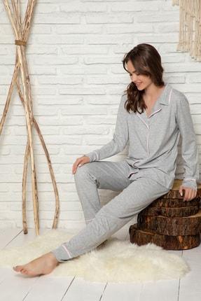 Elitol Pamuklu Likralı Düğmeli Pijama Takım