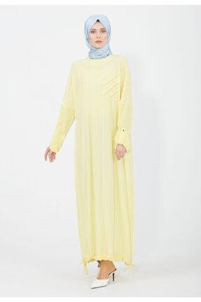 Setrms Etek Ucu Bağcıklı Cizgili Elbise