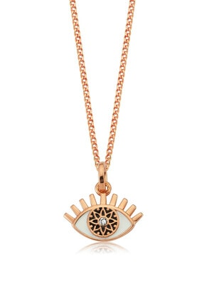 Valori Jewels Büyülü Nazar Gözü, Swarovski Zirkon Beyaz Taşlı, Rose Gümüş Kolye