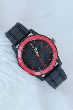 Choppers Siyah Renk Silikon Kordonlu Kabartlamalı Iç Tasarımlı Kırmızı Spor Kasa Bayan Kol Saati