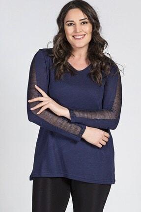 Womenice Büyük Beden Kol Ortası Transparan Detaylı Bluz