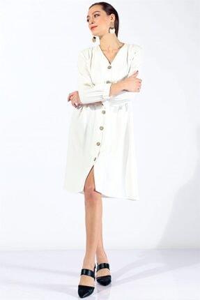 Twister Jeans Kadın Bayan Boydan Düğmeli Elbise 19124 Beyaz