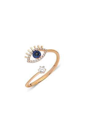 Pink Gold Store Blue Eye 14 Ayar Altın Yüzük