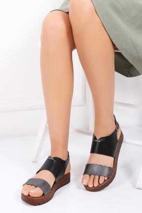 Deripabuc Hakiki Deri Siyah X3 Kadın Deri Sandalet Dp-0093