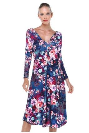 Quincey V Yaka Desenli Elbise