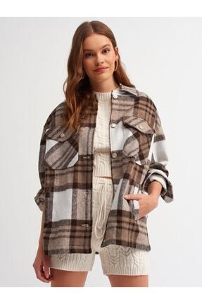 Dilvin - One Of Giz - Kadın Kahverengi Oduncu Gömlek