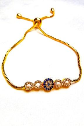 Accessories Zirkon Taşlı Nazar Boncuklu Altın Kaplama Bileklik