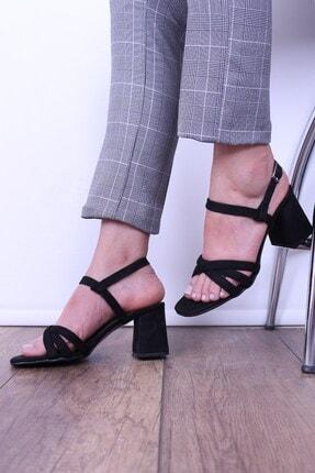 Derigo Siyah Süet Kadın Topuklu Ayakkabı 39444
