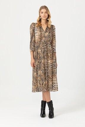 Seçil Kadın Zebra Desenli V Yakalı Bej Elbise 3505