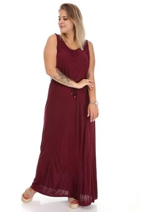 Big Free Bayan Askılı Bel Lastikli Ip Bağlamalı Uzun Penye Elbise