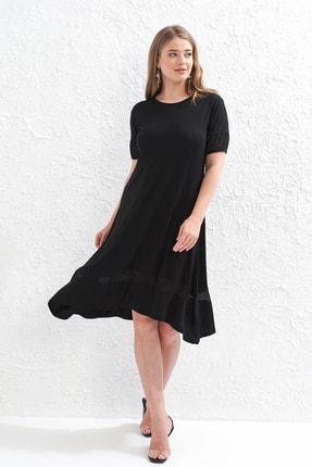 Big Free Bayan Benekli Tül Detaylı Penye Elbise