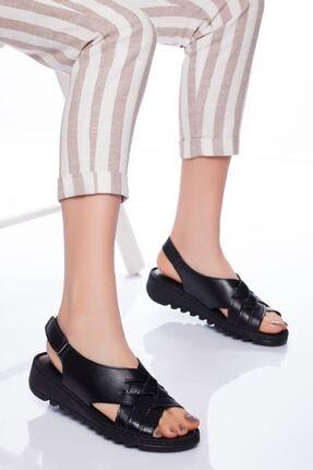 derithy Kadın Siyah Hakiki Deri Sandalet