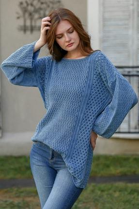 Chiccy Kadın Çivit Mavi Bohem Kayık Yaka Kafes Örgü Triko Yıkamalı Salaş Bluz M10010200bl95980