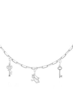 Valori Jewels Melek Ve Anahtar, Swarovski Zirkon Taşlı, Gümüş Charm Kolye Kombini