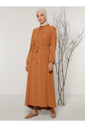 Refka Kadın Tarçın Yaka Detaylı Elbise 1708047