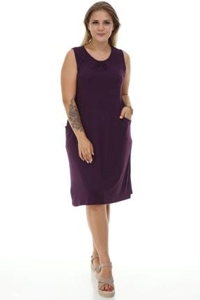 Big Free Bayan Ön Büzgülü Cepli Penye Elbise