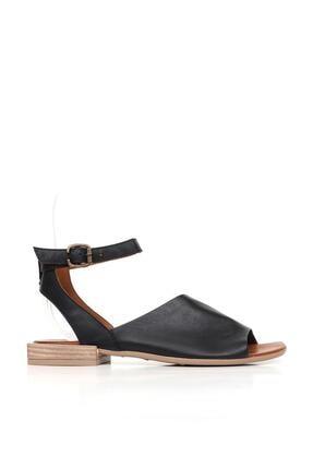Bueno Shoes Deri Detaylı Hakiki Deri Kadın Düz Sandalet 20wq5602