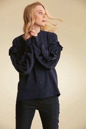 Nihan Kadın Lacivert Gömlek