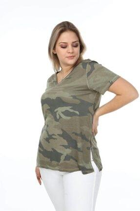 Seamoda Kadın Yeşil V Yaka Kamuflaj Desen Yanı Yırtmaçlı Tshirt