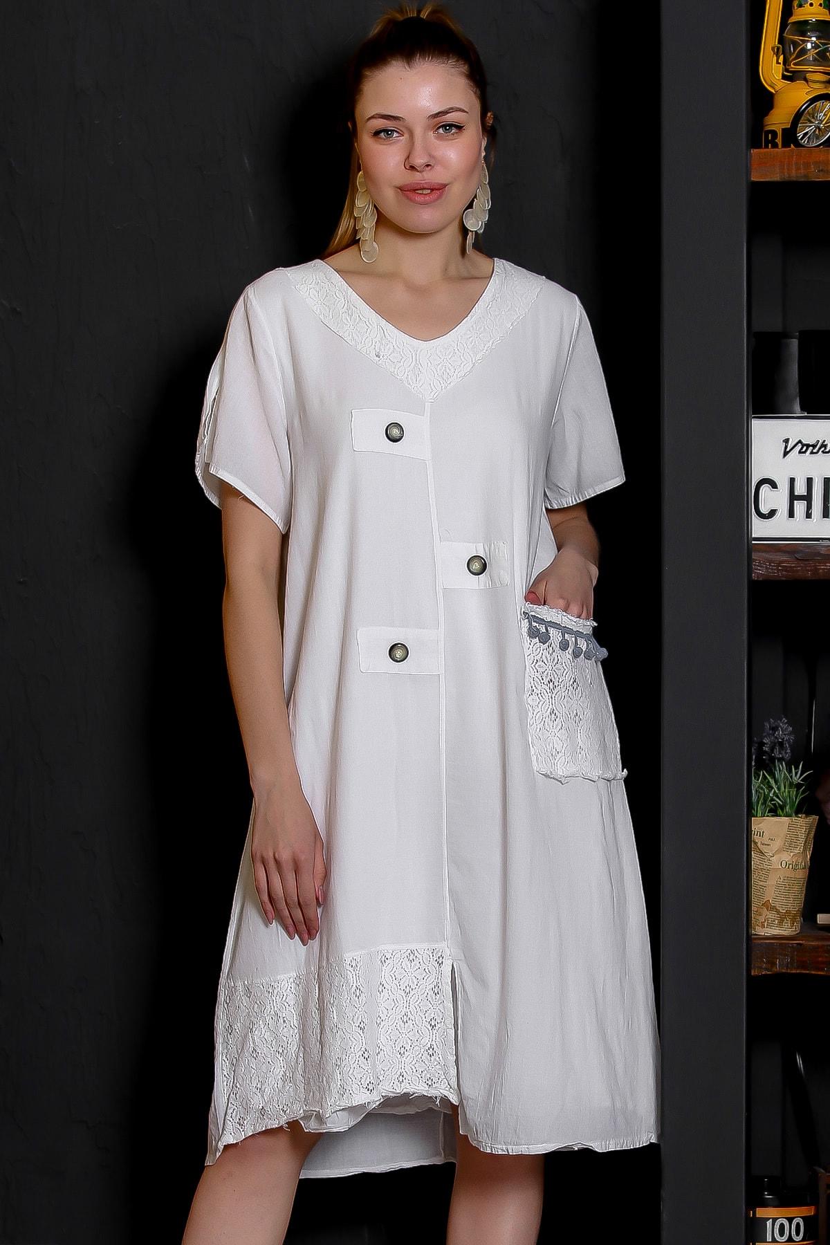 Chiccy Kadın Beyaz Dantel Yaka Ve Cep Detaylı Süs Düğmeli Astarlı Yıkamalı Elbise M10160000EL95281