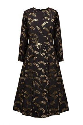 Faberlic Siyah Jakarlı Desenli Elbise 34 Beden