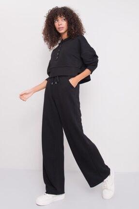 Bsl Kadın Siyah Yüksek Bel Detaylı Bel Lastikli Pantolon