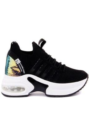 Guja Kadın Siyah Air Tabanlı Dolgu Topuk Spor Ayakkabısı 333-7