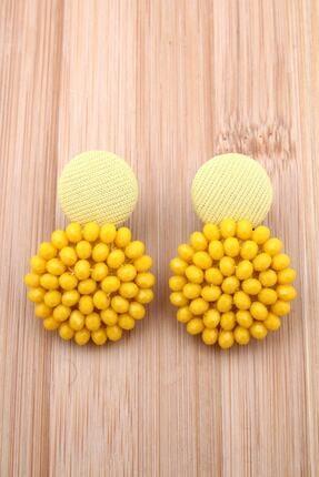 Pelin Aksesuar Sarı Kristalli Tasarım Düğme Küpe