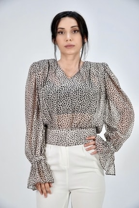 Lila Rose Kadın Taş Rengi V Yaka Puantiyeli Şifon Bluz