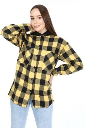 Big Free Kadın Sarı Ekose Kapişonlu Kol Lastik Oduncu Gömlek