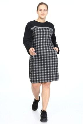 Big Free Kadın Siyah Kaşe Düz Şeritli Kare Desen Cepli Elbise Tb21kb111650