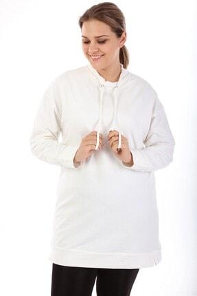 Big Free Kadın Krem Kuş Gözlü Yarım Balıkçı Sweatshirt Tb21kb051009