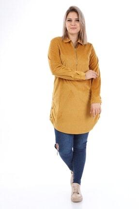 Big Free Kadın Hardal Kadife Yarım Pat Gömlek Yaka Elbise Tb21kb112054