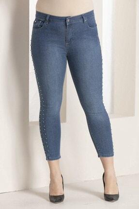 Rmg Kadın Mavi Kim Yanları İnci Detaylı Kot Pantolon