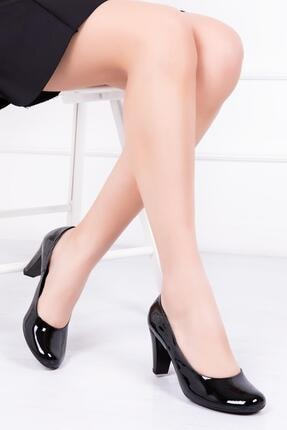 Deripabuc Hakiki Deri Siyah Rugan Kadın Topuklu Deri Ayakkabı Dp06-0001