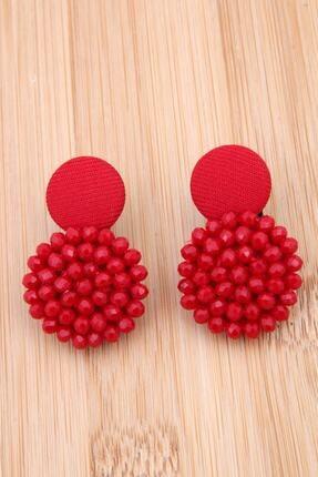 Pelin Aksesuar Kırmızı Kristalli Tasarım Düğme Küpe