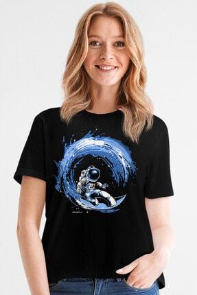 Rock & Roll34 Kadın Siyah Galaktik Sörfcü Kısa Kollu T-shirt