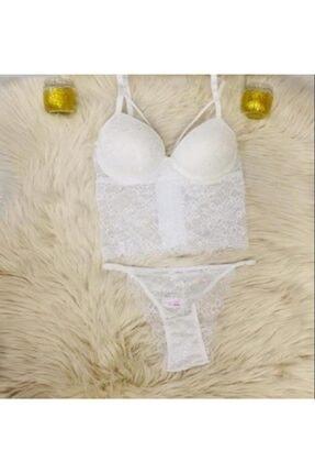 Venüs Kadın  Beyaz Dantelli Bralet Takımı V105