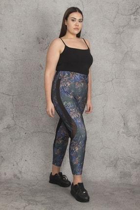 Şans Kadın Renkli Yan Detaylı Sporcu Tayt Pantolon 65N21975