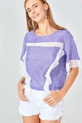 Boutiquen Km-11-mavi Şifon Garnili Çizgili Bluz
