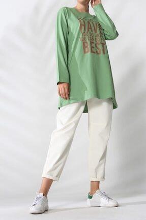ALLDAY Fıstık Yeşili Baskılı Penye Sweat Tunik