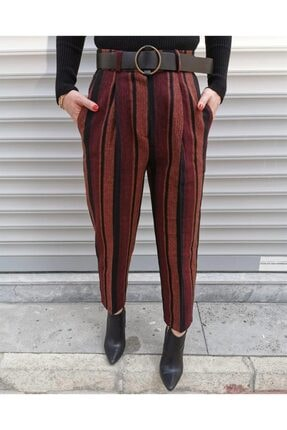 Quzu Kemerli Çizgili Kadın Pantolon - Bordo